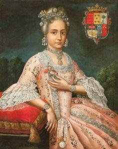 Portrait of Rosa de Salazar y Gabiño, Countess of Monteblanco and Montemar, c. 1764-1771. Artist/maker unknown, Peruvian. Oil on canvas.