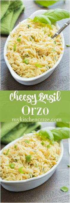 Cheesy Basil Orzo ~ Just 6 ingredients are all you need to make this fresh pasta side. The lemon and basil brighten the dish making it perfect for any main dish. Pasta Side Dishes, Pasta Sides, Vegetable Side Dishes, Vegetable Recipes, Food Dishes, Rice Dishes, Main Dishes, Orzo Recipes, Side Dish Recipes