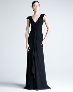 Carolina Herrera Crinkled Chiffon Gown - Neiman Marcus
