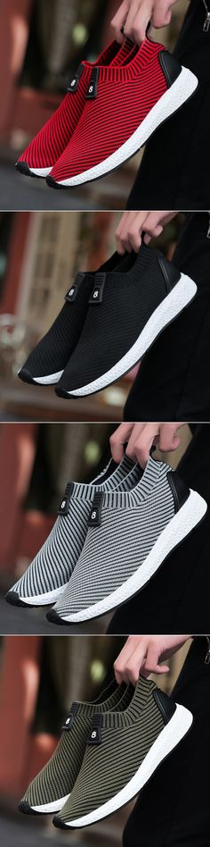 【2017.8.8~8.10】CRAZY DISCOUNT IS COMING. GRAB COUPON ASAP!!!!!Men Knitted Strech Fabric Breathable Non-slip Slip On Casual Sneakers