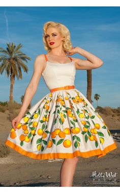 Pinup Couture- Jenny Dress in Orange Border Print   Pinup Girl Clothing If this isn't the best dress on the face of the planet, I don't know what is...