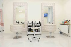 Hair salon- STUDIO WIKTORIA P POLAND OBESESSION styling chairs and OBSESSION styling units made with Svarowski crystals by AYALA salon furniture. Glamour salon design. #Salonideas #salonchairs #Unusualdesign