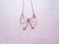 Silver Wire Necklace Bow Necklace Swedish Jewelry by DesignByThyll