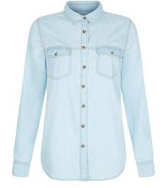 Light Blue Denim Double Pocket Long Sleeve Shirt  | New Look