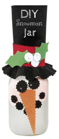 Snowman Etched Ball Jar   DIY Snowman Jar    Ball Jar Snowman Idea from @joannstores