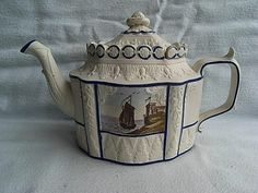 Antique Castleford Type Feldspar Stoneware Teapot & Cover Porcelain Landscapes Height (Overall) 5 1/2 inches, width 9 inches. Condition: Two chips and a nibble on the cover, very minor staining/marks. £102