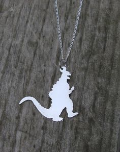 Godzilla Necklace Hand Cut Pendant by Roxys Creations on Etsy