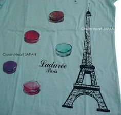 New-Uniqlo-x-Laduree-Eiffel-Tower-Macaron-T-Shirt-Tee-Short-Puff-Sleeve-Japan-M