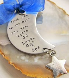 Personalized Hand Stamped Christmas Ornament Moon Ornament Newborn Gift Baby Ornament Handstamped Ornament Tree Ornament