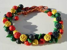 Vintage Celluloid Plastic Flowers Bead Necklace by NATASHASDESIGNS, $220.00
