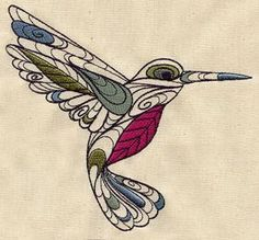 Embroidered hummingbird  #art #journal