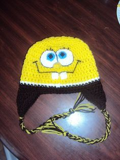 Free Crochet Sponge bob hat Pattern - maybe I can send you the yarn and you can make this for Tammi for Christmas Crochet Kids Hats, Crochet Beanie Hat, Crochet Crafts, Yarn Crafts, Crochet Projects, Free Crochet, Knitted Hats, Knit Crochet, Crochet Character Hats