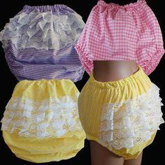 Frilly Gingham Plastic Lined Baby Pants - Adult Baby Clothing, Adult Babywear, Ageplay Products and Much Frilly Knickers, Pvc Hose, Huggies Diapers, Girls In Panties, Plastic Pants, Diaper Covers, Baby Pants, Bra And Panty Sets, Baby Dress