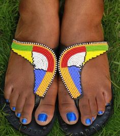 South African Beaded Sandals ~ African Style