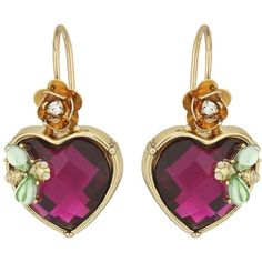 Betsey Johnson Stone Heart Drop Earrings (Pink) Earring ($28) ❤ liked on Polyvore featuring jewelry, earrings, heart drop earrings, flower earrings, pink heart earrings, flower charms and betsey johnson earrings