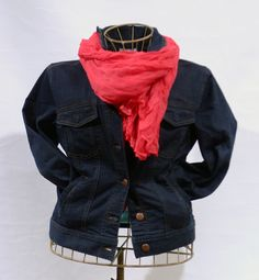 Eileen Fisher Jean Jacket and Scarf. Trim denim jacket and the burst of color this scarf provides is a perfect Spring look.