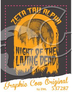 Night of the Living Dead Zombie moon Halloween #grafcow