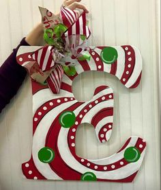 Single Letter Monogram Wooden Door Hanger / Candy Cane door hanger / Christmas door hanger / Craft Night Out located in Statesville Nc