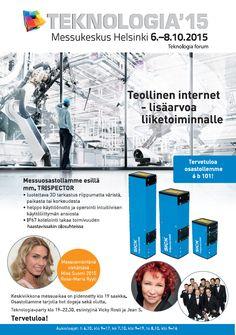 Sick Oy:n asiakaslehteen Teknologia ´15 -tapahtumailmoituksen suunnittelu ja taitto.