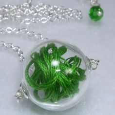 Glass  Round  Clear  Filled  Green Bubbles grass spring summer Peridot  by TheEboutique, $25.00