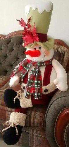 Se. Nieve Christmas Room, Christmas Sewing, Christmas Fabric, Primitive Christmas, Country Christmas, Christmas Snowman, Christmas Projects, Handmade Christmas, Christmas Ornaments