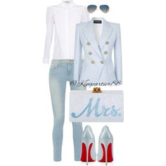 A fashion look from August 2015 featuring Balenciaga blouses, Balmain blazers et Frame jeans. Browse and shop related looks.