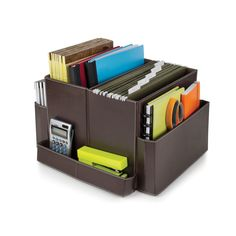 From letter-size hanging files to note cards, and binders to paper clips, easily store and access your everyday office materials in this Guidecraft Folding Desk Organizer Brown.
