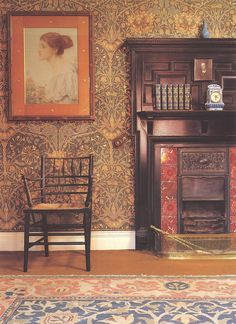 "That's a lot like our fireplace! Honeysuckle designed by May Morris, daughter of William Morris. A Morris & Co. Sussex Chair & a carpet or ""Hammersmith"" graces the floor at Wightwick Manor, Wolverhampton, West Midlands. Attic Remodel, Decor, Art Decor, Wallpaper, Gothic Home Decor, William Morris Interior, William Morris Wallpaper, Arts And Crafts House, Morris Wallpapers"