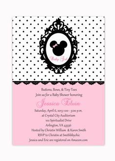 Minnie Mouse Pink Polka Dots Shabby Chic Printable Baby Shower Invitation I Customize The With Details You Send