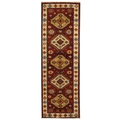 Herat Oriental Indo Hand-knotted Tribal Kazak / Ivory Runner