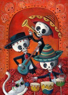 El Dia de Los Muertos Skeleton Musicians - by Monika Suska