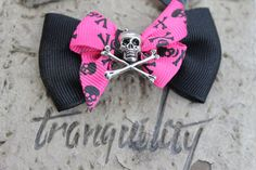 Love Potion XXX Glam Ghoul  Skull Hair Bow Goth by tranquilityy