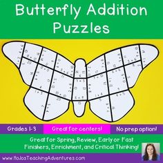 These Butterfly Addition math puzzles make it quick and easy for teachers to provide hands on games that meet the needs of all students. Use them for spring or anytime you want to add some color into your class. They work great as activities, centers, stations, or Maths Puzzles, Math Addition, Spring Activities, Math Games, Critical Thinking, Math Centers, Students, Butterfly, Meet