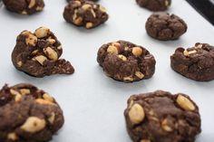 Flourless double chocolate & salted peanut cookies
