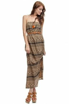 TUBE MAXI DRESS WITH ETHNIC PRINT DETAIL If you love dresses salediem has the look for Fall #salediem #fall#fashion. Shipping is FREE!