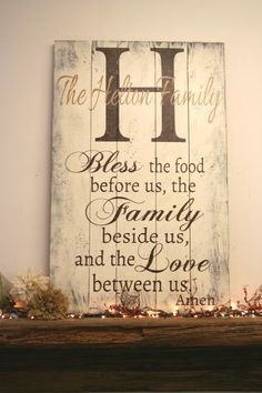 Bless The Food Before Us Pallet Sign Kitchen Dining Wall Decor