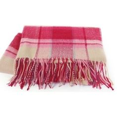 Riviera Throw, Sunset Pink Plaid by Living Healthy Products, $149.98