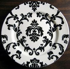 Decorative Dishes - (http://www.decorativedishes.net/black-on-white-damask-exotic-wallpaper-scroll-decorative-plate-b/)
