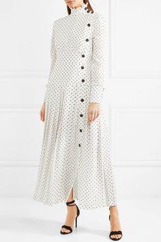 Alessandra Rich - Pleated Polka-dot Silk Crepe De Chine Midi Dress - White
