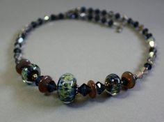 CELESTIA lampwork and Swarovski necklace by KerensJewelry on Etsy, $105.00