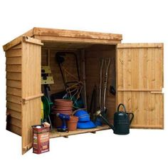 Wooden Garden Shed Mower Tool Store Pent Roof Double Doors Overlap Cladding Floor Felt Fixings Assembly Instructions inc. 10 year anti rot guarantee Free Delivery Self-assembly Free Returns. Outdoor Bike Storage, Garden Storage Shed, Storage Sheds, Storage Boxes, Attic Storage, Garage Storage, Kitchen Storage, Plastic Sheds, Gardens