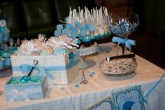 baby boy blue French Parisian chic Eiffel tower baby shower dessert table right