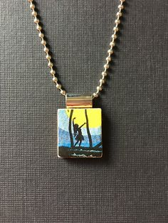 Vintage Hawaiian Hula Girl Jewelry, recycled and handmade scrabble tile jewelry, vintage hula girl pendant, hula girl silhouette necklace by InSmallPackages on Etsy