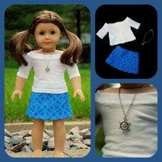 American Girl white boatneck top, blue anchor skirt, and ship's wheel necklace - Nautical themed outfit