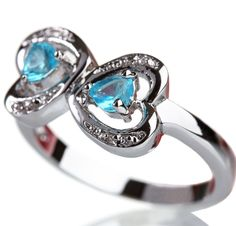Valentine Day Special - Beautiful diamond ring with blue precious stones