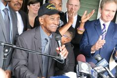 Johnnie Hodges went home today. The 90-year-old World War II veteran had been evicted from his house on a stretcher this summer after falling behind on the mortgage because he'd been caring for his mortally ill wife. He returned in fantastic style, in time for Veterans Day next week. People helped him raise $110,000 through a GoFundMe account set up for him before the Nov. 5 deadline.