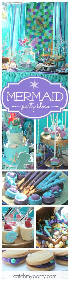 This Little Mermaid themed birthday party is gorgeous! The cake and desserts are beautiful! See more party ideas at CatchMyParty.com