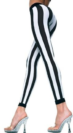 Black White Wide Vertical Stripes Opaque Leggings Footless Hosiery Tights Ankle Long Spandex/Nylon