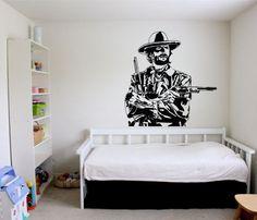 Wall Vinyl Sticker Decals Mural Room Design Pattern Art Decor Cowboy Guns Hat Man Western  bo2199 by RoomDecalsAndDesigns on Etsy