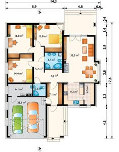 DOM.PL™ - Projekt domu AN KONICZYNKA G2 CE - DOM AO8-58 - gotowy koszt budowy House Plans, New Homes, Floor Plans, How To Plan, Ideas, Build House, House Floor Plans, Thoughts, Floor Plan Drawing